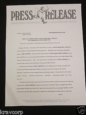 Paul Simon 'Songs From The Capeman' 1997 Press Release