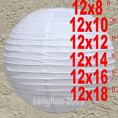 "72Mix(8""10""12""14""16""18"") White Paper Lanterns Home Party Wedding Decoration"