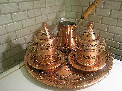 Totally Handmade Copper Turkish Coffee&Espresso Serving Set:OTTOMAN STYLE-2 CUPS