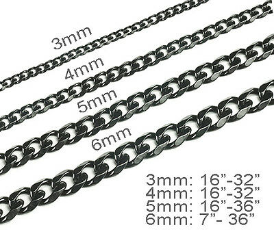 3-6mm Never tarnish Men's womens Black Stainless Steel Necklace curb chain
