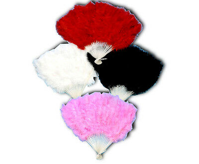 Burlesque Soft Feather Fan Showgirl Flamenco Fancy Dress Red Black Pink White