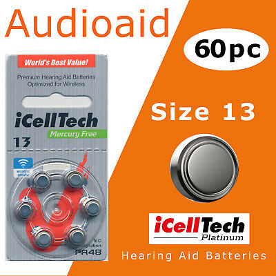 Size 13 Hearing Aid Batteries (QTY:60) iCellTech Expiry 2021