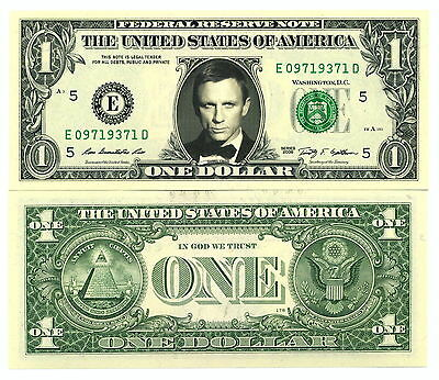 DANIEL CRAIG JAMES BOND 007 - VRAI BILLET DOLLAR US! Collection Acteur Hollywood