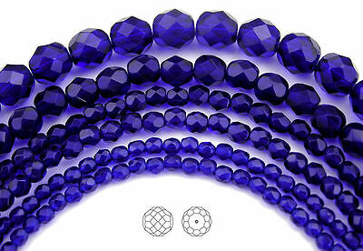 """Czech Fire Polished Round Faceted Glass Beads Cobalt Blue, 16"""" strand, navy blue"""