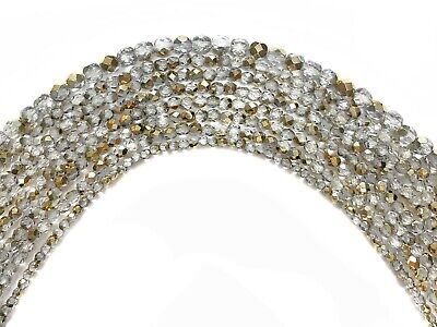 Czech Glass Fire Polished Round Faceted Beads Crystal Aureate (Aurum Gold Half)