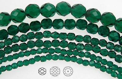 Czech Fire Polished Round Faceted Glass Beads in Emerald color, green