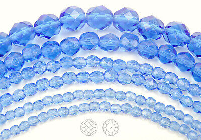 """Czech Glass Fire Polished Round Faceted Beads in Light Sapphire 16"""" strand, blue"""