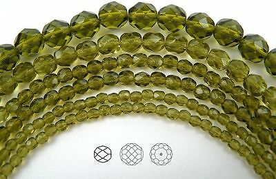 "Czech Fire Polished Round Faceted Glass Beads in Olivine color, 16"" strand green"