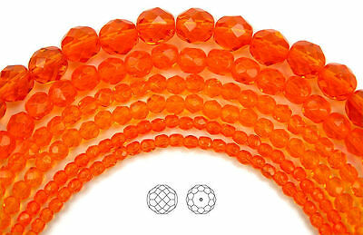 "Czech Fire Polished Round Faceted Beads in Sun color, 16"" strand"