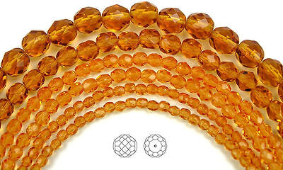 """Czech Fire Polished Round Faceted Glass Beads in Topaz color, 16"""" golden brown"""
