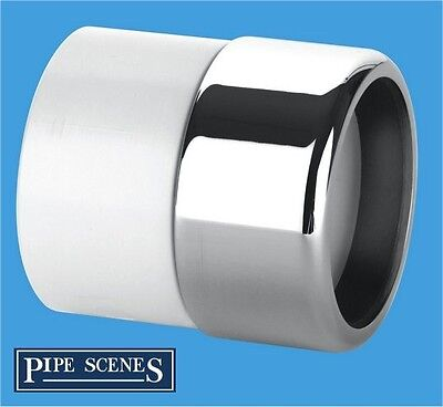 Chrome Waste Pipe 32mm 35mm to Plastic Adaptor Coupling