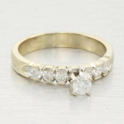 Stunning Edwardian Vintage Estate 0.82ct Diamond Solid 14k White Gold Ring