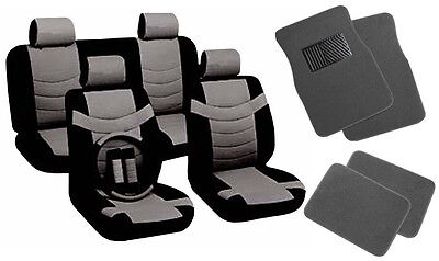 Two Tone PU Black/Gray Synth Leather Seat Covers Steering Wheel Floor Mats CS1