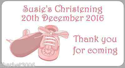 24 x Personalised Stickers Baby Girl Christening Pink Baby Shoes Medium Labels