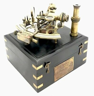 Brass Ship Sextant - Polished solid Brass Marine Sextant With Wooden Box