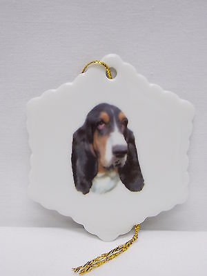 Basset Hound Dog Snowflake Christmas Tree Ornament Fired Head Decal-H