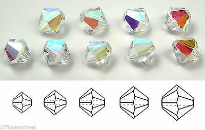 Czech MC Glass Bicone Beads (Rondell/Diamond) Crystal AB, clear Aurora crystals