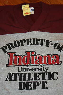 S * NOS w/ tag thin vtg 80s INDIANA hoosiers v-neck t shirt jersey 67.4