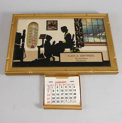 VINTAGE NEWTON MFG SILHOUETTE LITHOGRAPH THERMOMETER 1940 CALENDER ANTIQUE SIGN