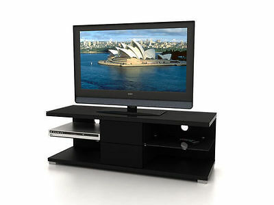 Lowline Black Tacuma Entertainment Unit TV Stand with High Gloss Drawers