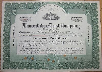 1930 Stock Certificate: 'Moorestown Trust Company' - New Jersey NJ