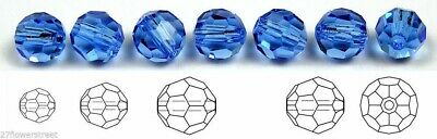 Czech Glass Machine Cut Faceted Round Crystal Beads, Sapphire rich blue crystals