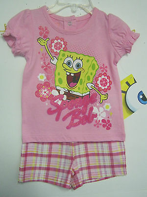 New W/t Sponge Bob Girls Short Outfit 12M, 18M, 24M, 2T, 4T