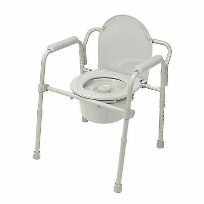 3 in 1 Commode Folding Portable Toilet Steel Splash Shield 350 Weight Capacity