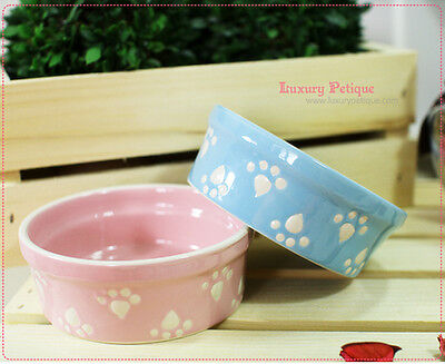 Cute Luxury Pet Food Bowl Feeder Dish for Dogs&Cats Pink&Blue