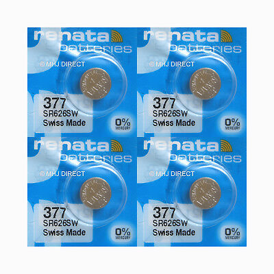 4 x Renata 377 SR626SW SR66 AG4 606 BA Watch Batteries Silver Oxide 0% Mercury