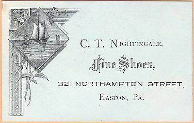 Engraved Victorian Trade Card-C T Nightingale-Fine Shoes-Easton, PA-Sailboats