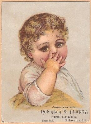 Victorian Trade Card-Robinson & Murphy Fine Shoes-Princeton, IL-Child