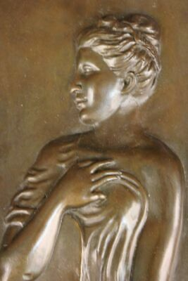 Vintag French Neoclassic Bronze Bas Relief Plaque Roman Greek Woman Sculpture NR