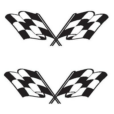 "Set of 2 - Racing flags checkered sticker vinyl decal 4"" x 1.4"" each"