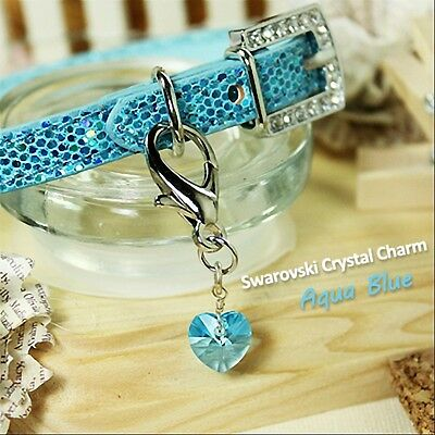 Dog/Cat Luxury Cute Collar Charm- Aquamarine Blue Swarovski Crystal Heart Pet