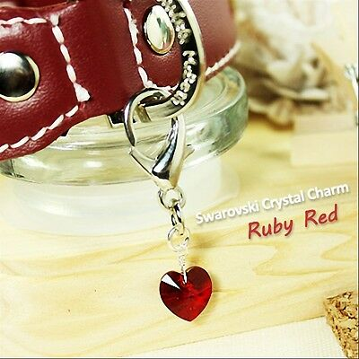 Dog/Cat Luxury Cute Collar Charm- Ruby Red Swarovski Crystal Heart