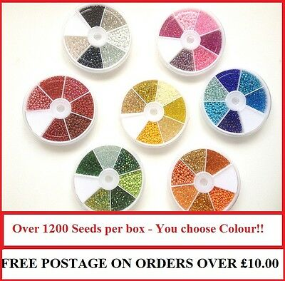 Glass Seed Bead Container 1200 Beads, You choose shades!! 8/0mm