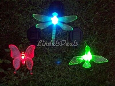 Solar Garden Stake Lights.Hummingbird,Dragonfly,Butterfly. You pick . VERY COOL