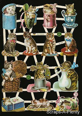 German Victorian Style Embossed Scrap Die Cut - Cats In Containers EF7360