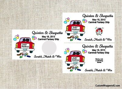 Wedding Just Married Party Scratch Off Tickets Cards Favors Personalized Custom