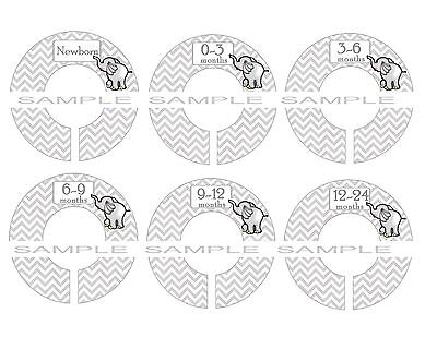 PRE-ASSEMBLED Closet Dividers..Grey Chevron Grey Elephant Dividers Baby dividers