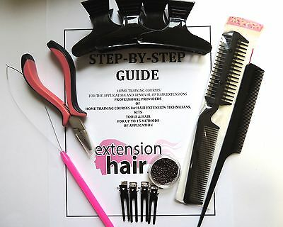 Nano Ring Hair extensions Step By Step Home training Kit