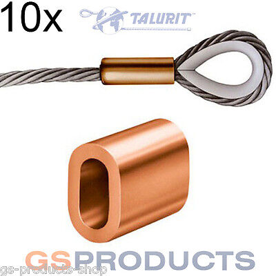10x 3mm Talurit Copper Ferrules for Stainless Steel Wire Rope Crimping Sleeves