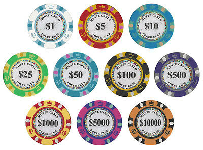 (10) Chip Monte Carlo Casino 14 Gram Poker Chip Set
