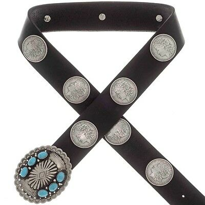 Replica Morgan Silver Dollar Concho Belt Navajo Old Pawn Style