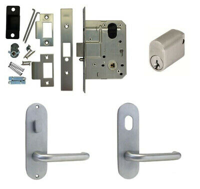 Kaba Entrance Door Pack MS2 Mortice Lock Round Plate w/ Snib Hole & Lever