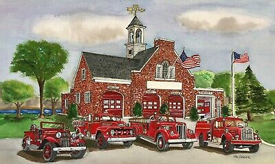 PERSONALIZED FIRE STATION ART PRINT Firefighter Fireman Rescue EMT Engine Gift