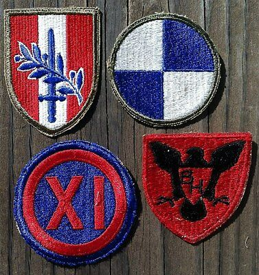 4 WWII US ARMY Military Unit Patches EUROPEAN 1940s Soldier Cloth Patches NOS