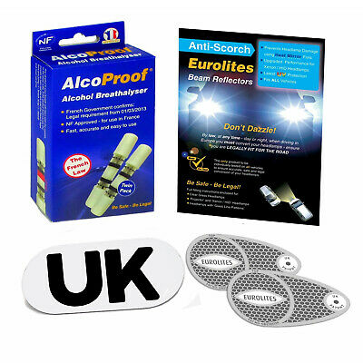 Eurolites Headlamp Adaptors 2 French Breathalyser Magnetic GB Plate Euro Travel