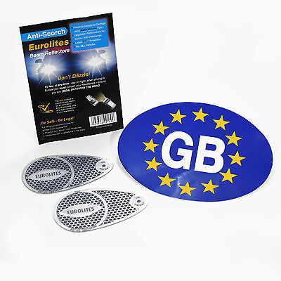 Euro Headlamp Adaptors Beam Deflectors Head Light Convertors & Euro GB Sticker
